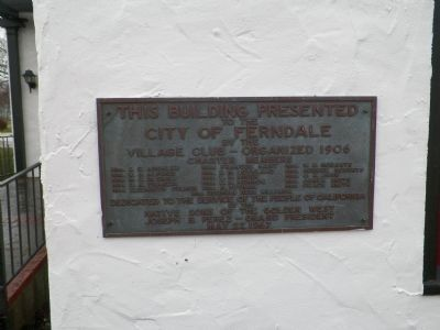 Ferndale Town Hall Plaque image. Click for full size.