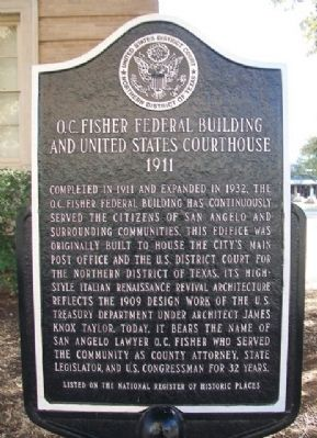 O.C. Fisher Federal Building and United States Courthouse Marker image. Click for full size.