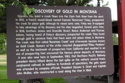 First Discovery of Gold in Montana Marker image. Click for full size.
