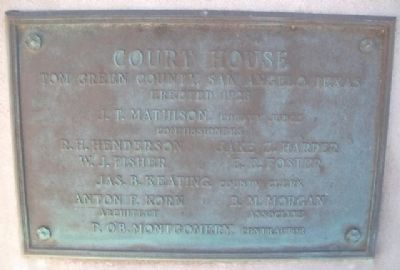 Tom Green County Courthouse Officials Marker image. Click for full size.