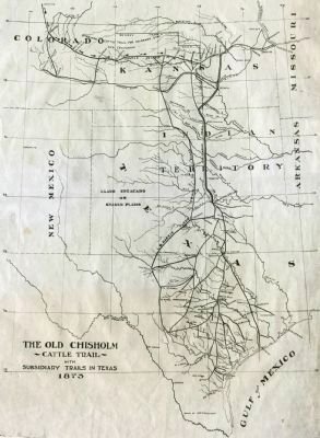 Map of the Old Chisholm Cattle Trail image. Click for full size.