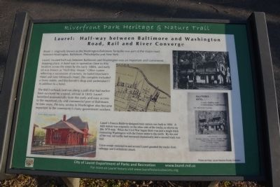 Laurel: Half-way between Baltimore and Washington Marker image. Click for full size.