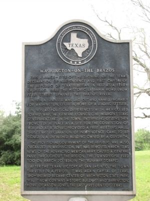 Washington-on-the-Brazos Texas Historical Marker image. Click for full size.
