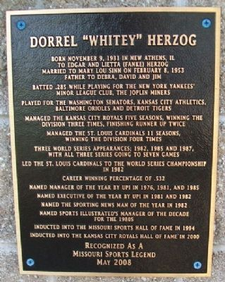 "Dorrel ""Whitey"" Herzog Marker image. Click for full size."