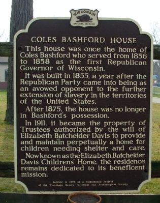 Coles Bashford House Marker image. Click for full size.