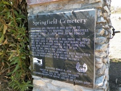 Springfield Cemetery Marker image. Click for full size.