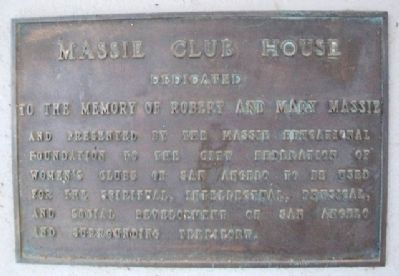 Massie Club House Marker image. Click for full size.