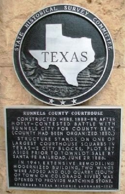 Runnels County Courthouse Marker image. Click for full size.