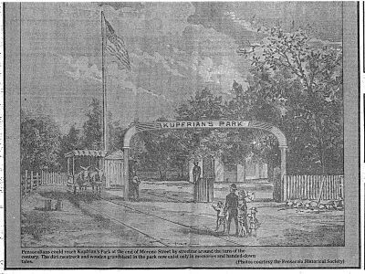 Kupfrian's Park Entrance circa early 1900's image. Click for full size.