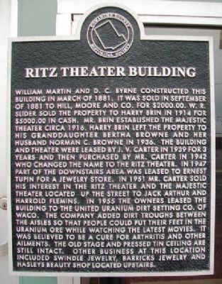 Ritz Theater Building Marker image. Click for full size.
