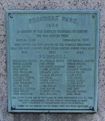 Founders' Park Marker- Front image. Click for full size.