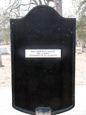 back of Colonel C. C. Slaughter Marker image. Click for full size.