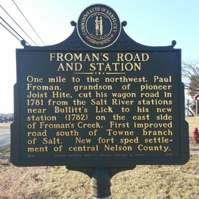 Froman's Road and Station Marker image. Click for full size.