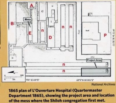 1865 plan of L'Ouverture Hospital image. Click for full size.