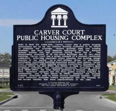 Carver Court Public Housing Complex Marker image. Click for full size.