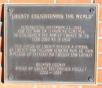 Replica of the Statue of Liberty Restoration Marker image. Click for full size.