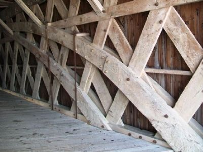 Holliwell Covered Bridge Trusswork Detail image. Click for full size.