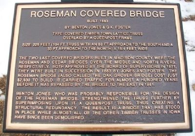 Roseman Covered Bridge Marker image. Click for full size.
