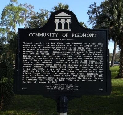 Community of Piedmont Marker image. Click for full size.