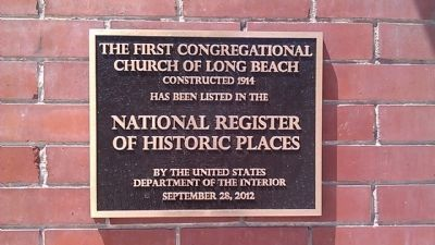 The First Congregational Church of Long Beach Marker image. Click for full size.
