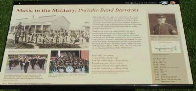 Music in the Military: <i>Presidio Band Barracks</i> Marker image. Click for full size.