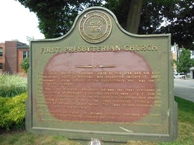 First Presbyterian Church Marker, Monroe, Michigan image. Click for full size.