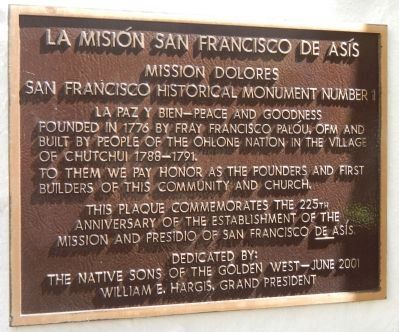 La Misi�n San Francisco de As�s Marker image. Click for full size.