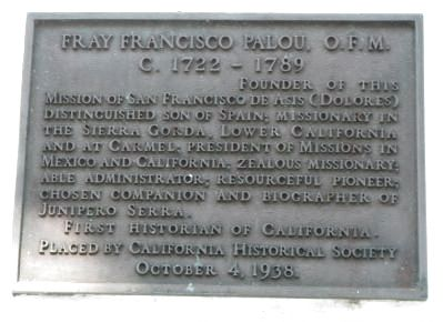 Fray Francisco Palou, O.F.M. Marker image. Click for full size.