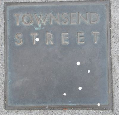 Townsend Street Marker, top left plaque image. Click for full size.