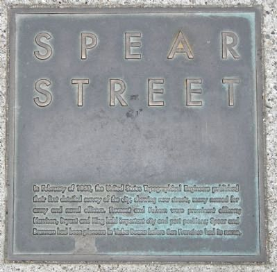 Spear Street Marker, top left plaque image. Click for full size.