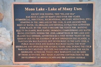 Mono Lake - Lake of Many Uses image. Click for full size.