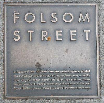 Folsom Street Marker, top left plaque image. Click for full size.