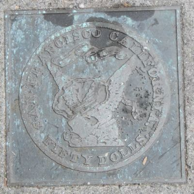 Folsom Street Marker, bottom right plaque image. Click for full size.