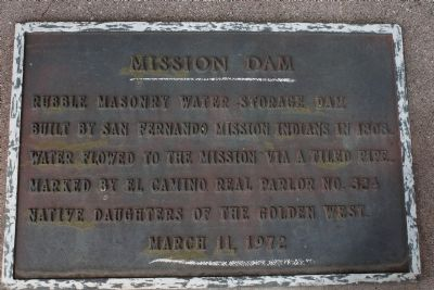 Mission Dam Marker image. Click for full size.