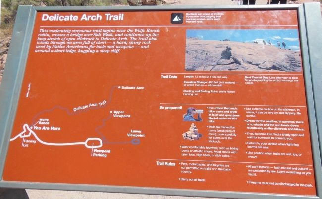 Delicate Arch Trail Map image. Click for full size.