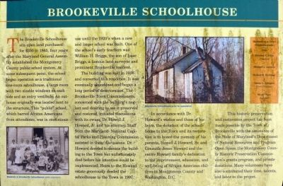 Brookeville Schoolhouse Marker image. Click for full size.