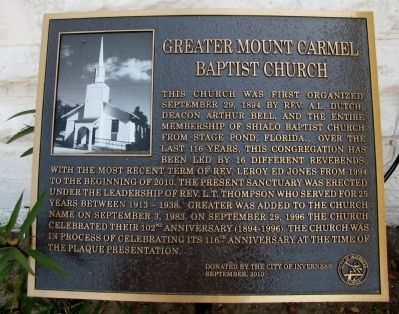 Greater Mount Carmel Baptist Church Marker image. Click for full size.
