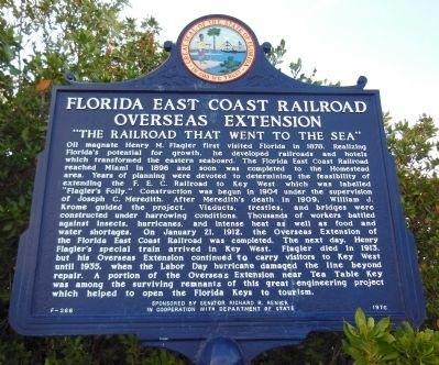 Florida East Coast Railroad Overseas Extension Marker image. Click for full size.