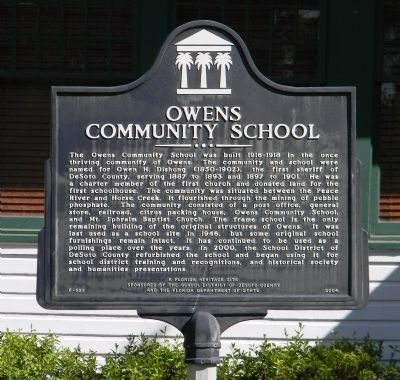 Owens Community School Marker image. Click for full size.