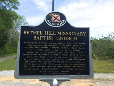 Bethel Hill Missionary Baptist Church Marker image. Click for full size.