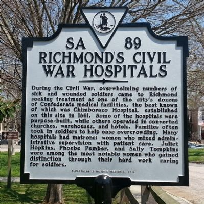 Richmond's Civil War Hospitals Marker image. Click for full size.