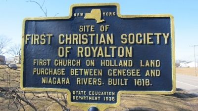 Site of First Christian Society of Royalton Marker image. Click for full size.