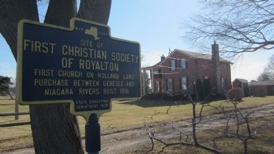 Southwestward View Site of First Christian Society of Royalton Marker image. Click for full size.
