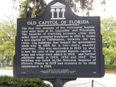 Old Capitol of Florida Marker image. Click for full size.