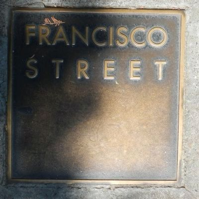 Francisco Street Marker, top left plaque image. Click for full size.