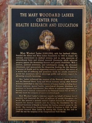 The Mary Woodard Lasker Center for Health Research and Education Marker image. Click for full size.