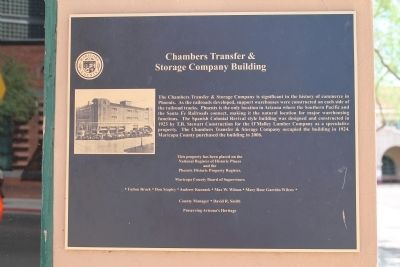 Chambers Transfer & Storage Company Building Marker image. Click for full size.