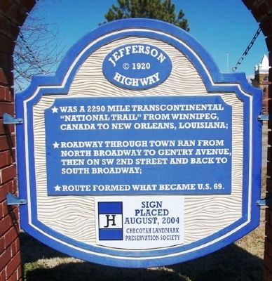 Jefferson Highway Marker image. Click for full size.