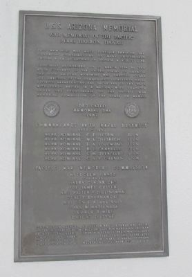 U.S.S. Arizona Memorial Plaque, Left image. Click for full size.