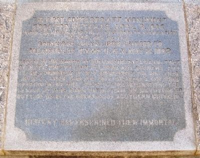 The First Confederate Monument Erected in Texas Dedication image. Click for full size.